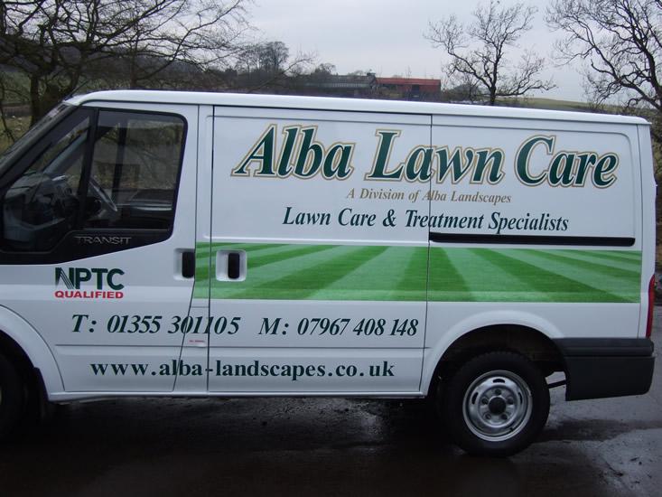 Lawn care services alba landscapes ltd for Garden maintenance van